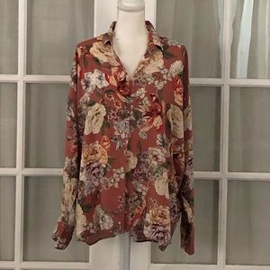 Zara Brick colored floral blouse.